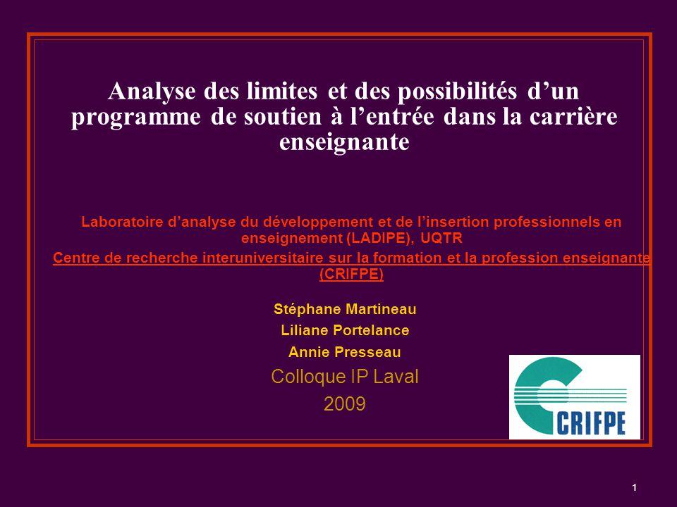 1 Analyse des limites et des possibilités d'un programme de soutien à l'entrée dans la carrière enseignante Laboratoire d'analyse du développement et