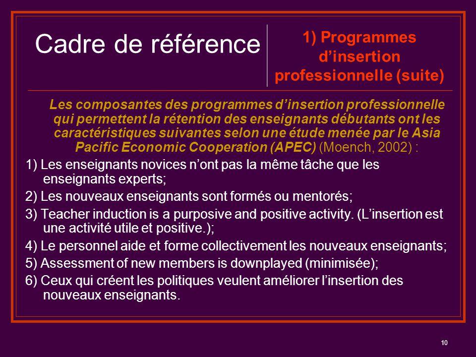 10 Les composantes des programmes d'insertion professionnelle qui permettent la rétention des enseignants débutants ont les caractéristiques suivantes