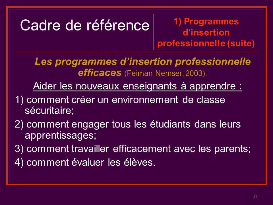 11 Les programmes d'insertion professionnelle efficaces (Feiman-Nemser, 2003): Aider les nouveaux enseignants à apprendre : 1) comment créer un enviro