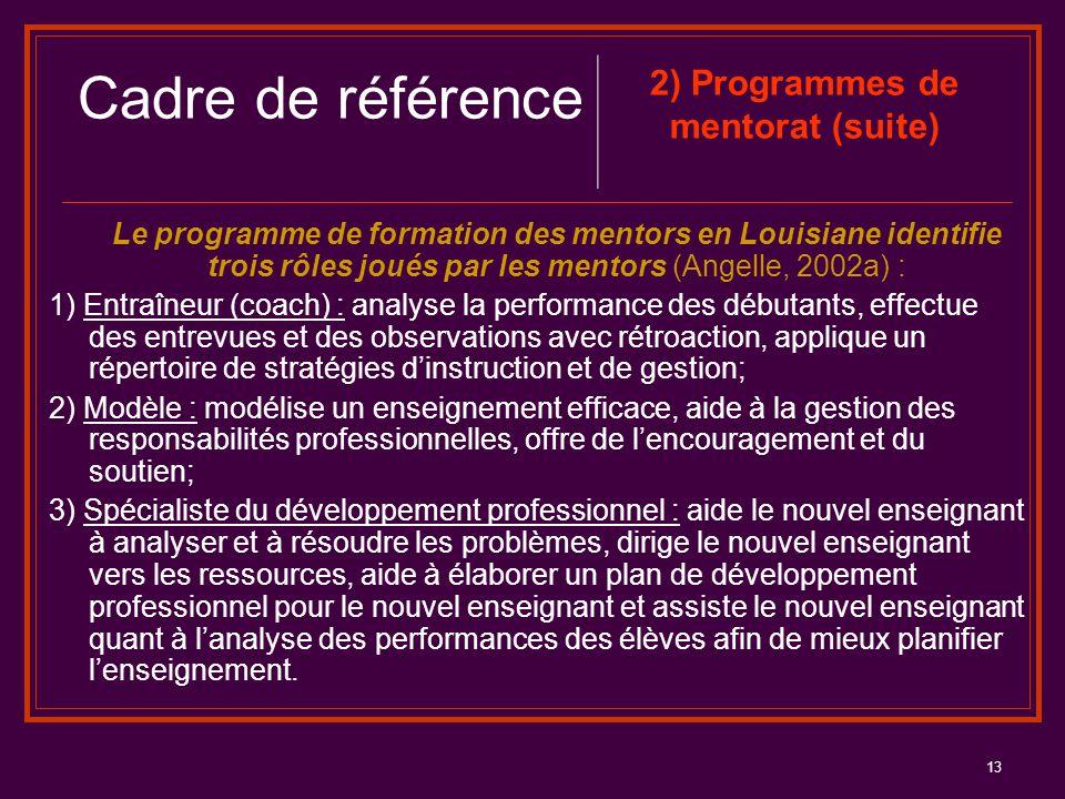13 Le programme de formation des mentors en Louisiane identifie trois rôles joués par les mentors (Angelle, 2002a) : 1) Entraîneur (coach) : analyse l