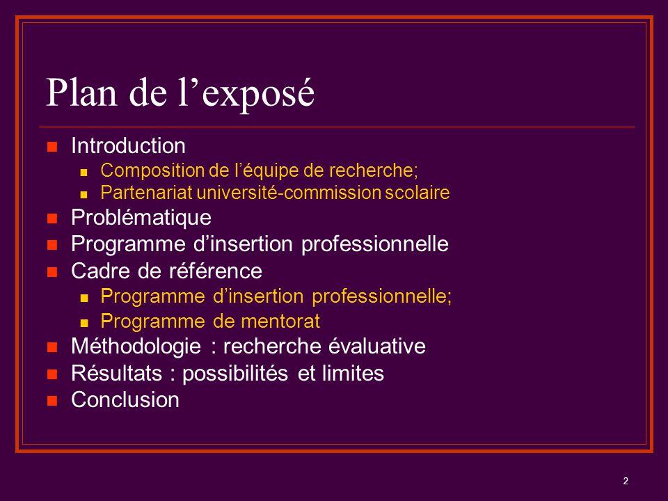 2 Plan de l'exposé Introduction Composition de l'équipe de recherche; Partenariat université-commission scolaire Problématique Programme d'insertion p