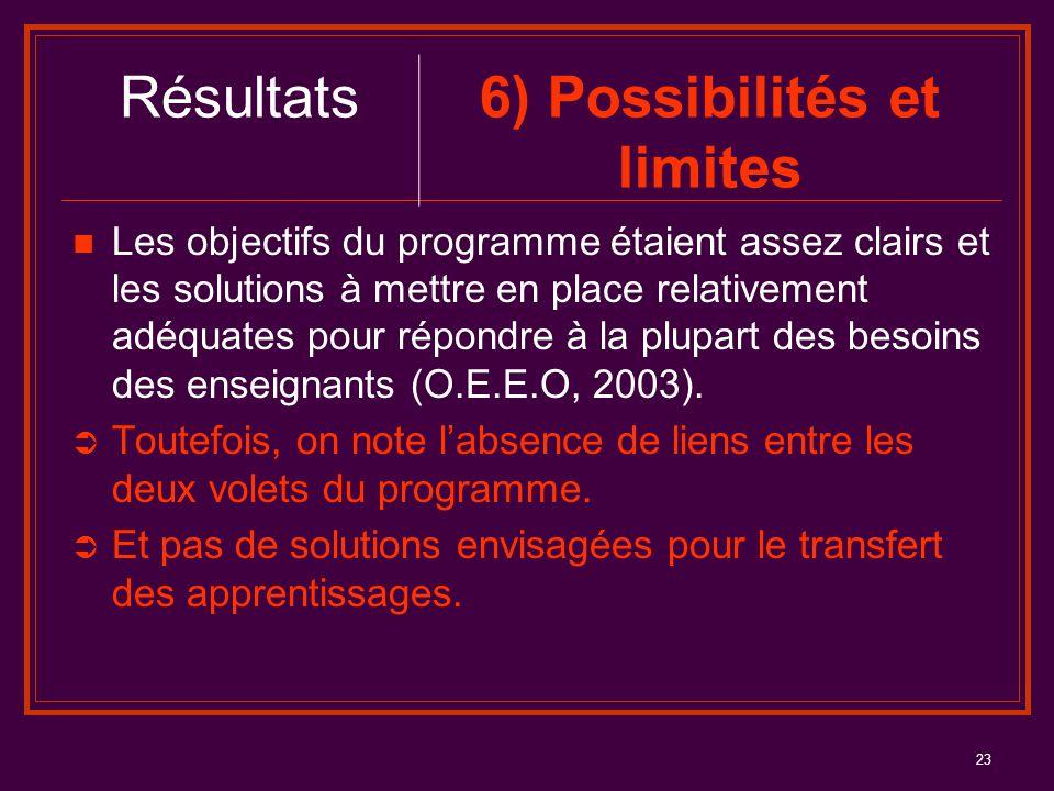23 Les objectifs du programme étaient assez clairs et les solutions à mettre en place relativement adéquates pour répondre à la plupart des besoins de