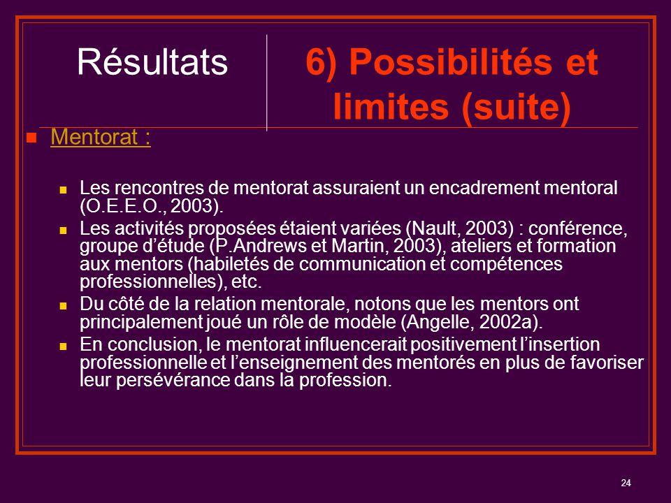 24 Mentorat : Les rencontres de mentorat assuraient un encadrement mentoral (O.E.E.O., 2003). Les activités proposées étaient variées (Nault, 2003) :