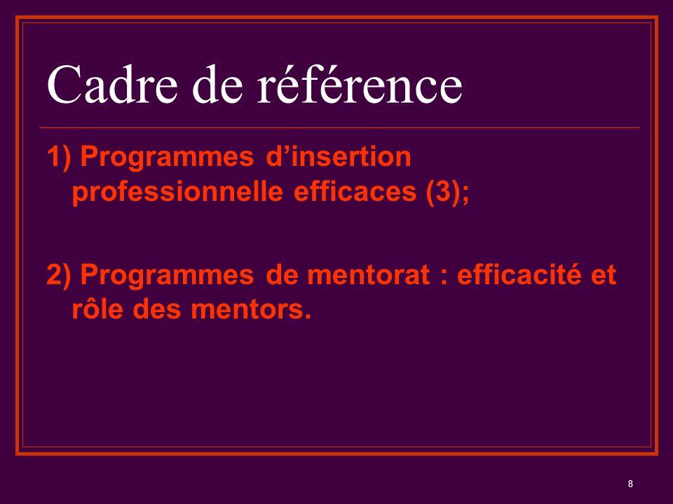 8 Cadre de référence 1) Programmes d'insertion professionnelle efficaces (3); 2) Programmes de mentorat : efficacité et rôle des mentors.