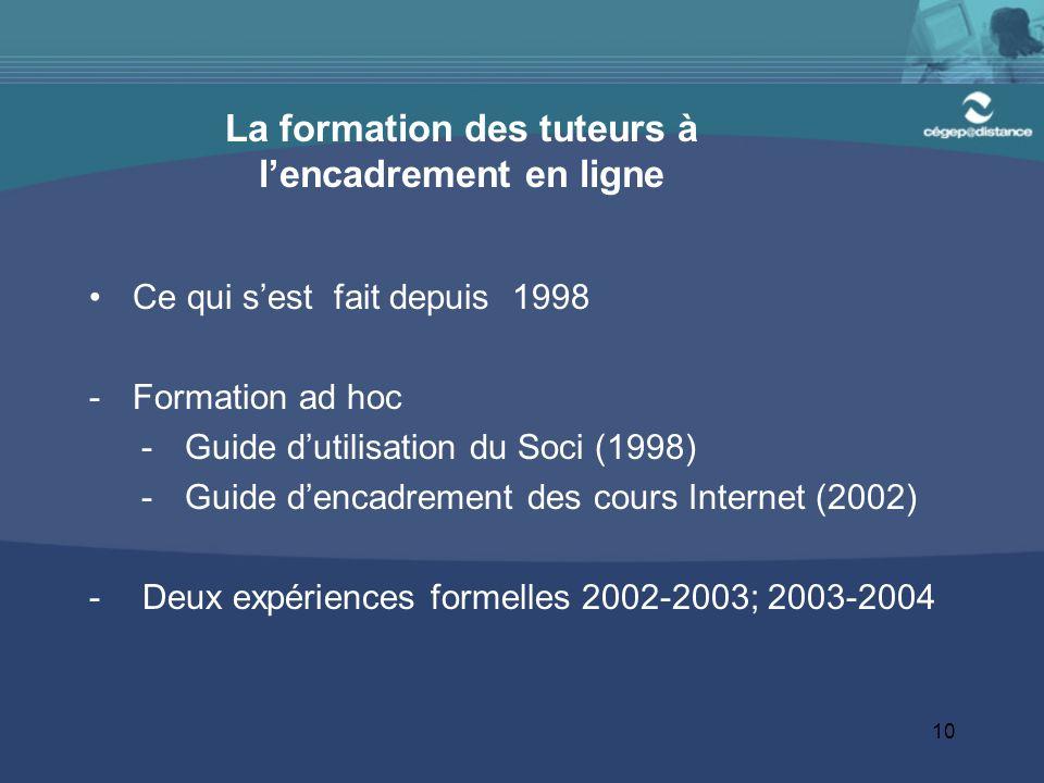 10 La formation des tuteurs à l'encadrement en ligne Ce qui s'est fait depuis 1998 -Formation ad hoc -Guide d'utilisation du Soci (1998) -Guide d'enca