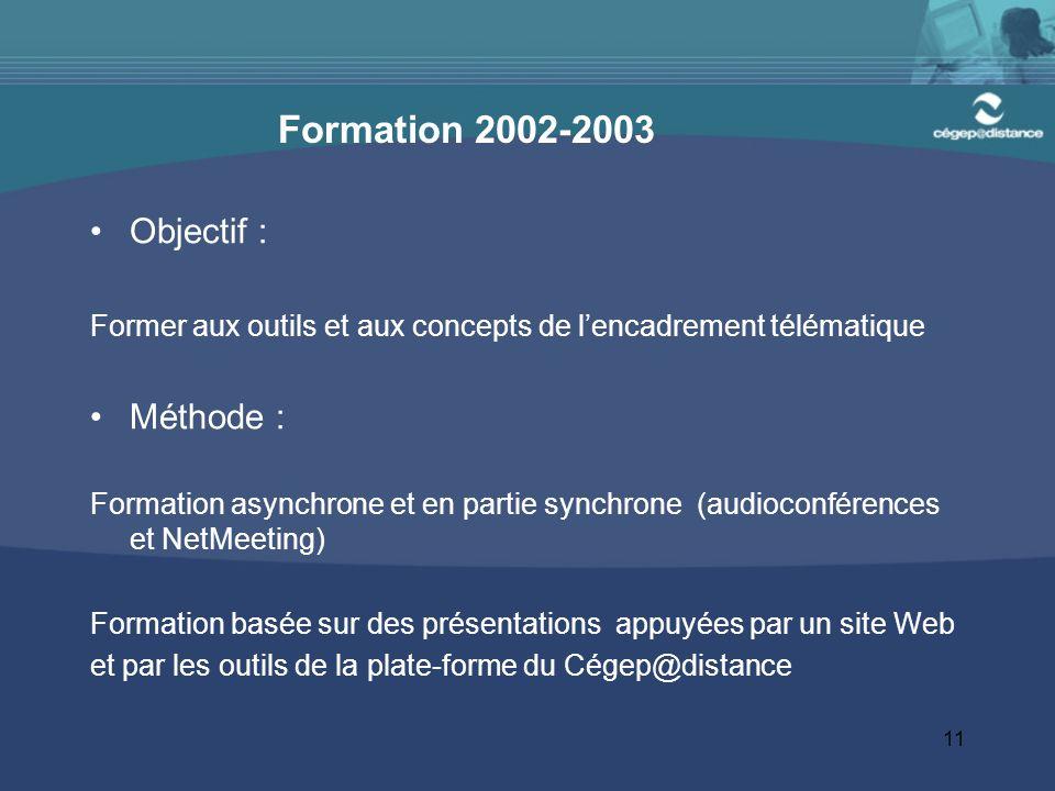 11 Formation 2002-2003 Objectif : Former aux outils et aux concepts de l'encadrement télématique Méthode : Formation asynchrone et en partie synchrone