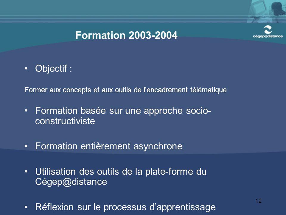 12 Formation 2003-2004 Objectif : Former aux concepts et aux outils de l'encadrement télématique Formation basée sur une approche socio- constructivis