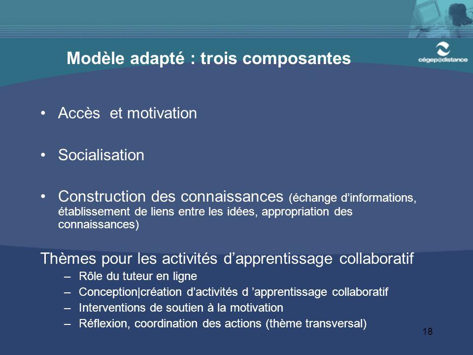 18 Modèle adapté : trois composantes Accès et motivation Socialisation Construction des connaissances (échange d'informations, établissement de liens