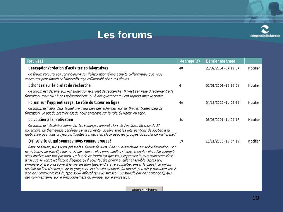 20 Les forums