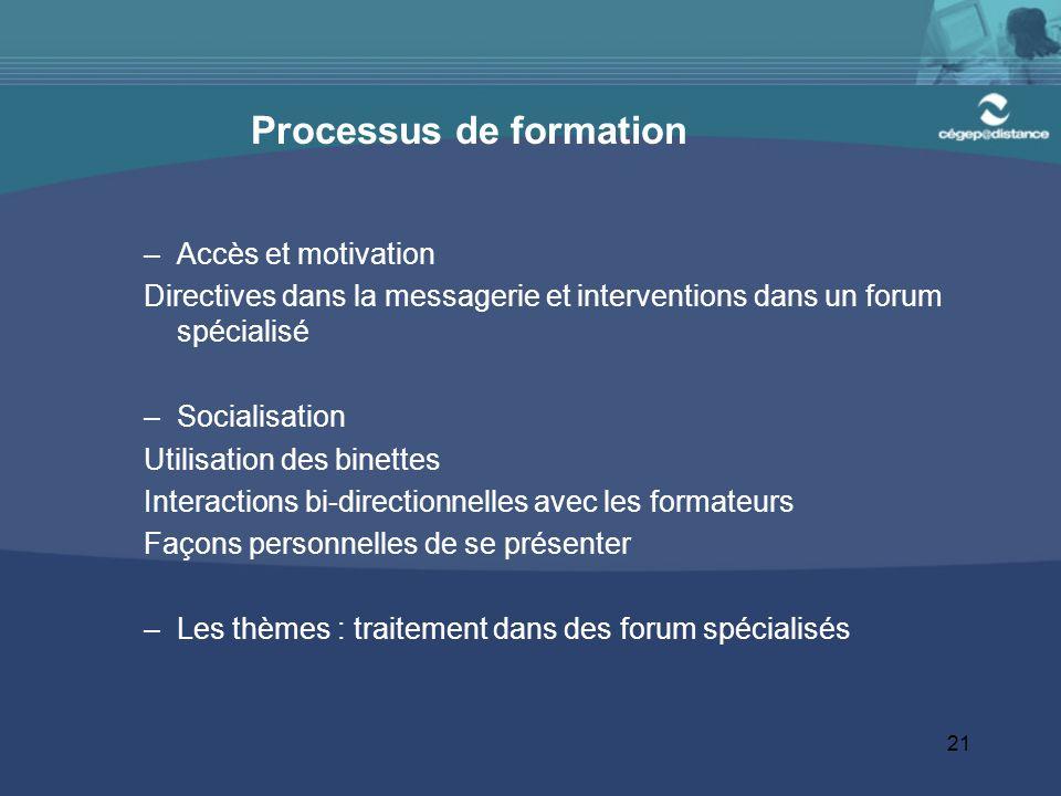 21 Processus de formation –Accès et motivation Directives dans la messagerie et interventions dans un forum spécialisé –Socialisation Utilisation des