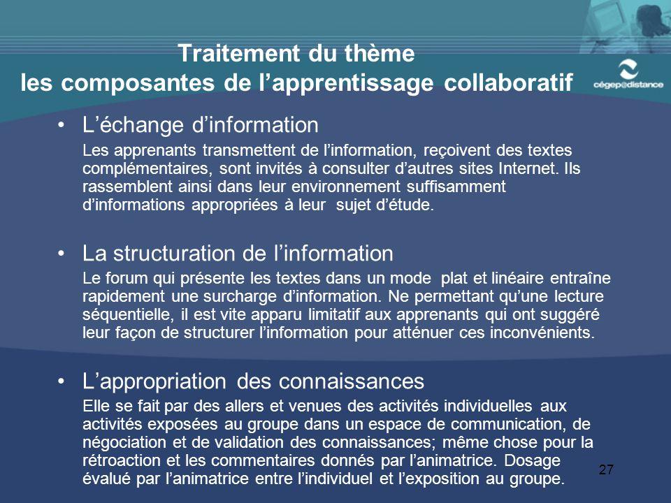 27 Traitement du thème les composantes de l'apprentissage collaboratif L'échange d'information Les apprenants transmettent de l'information, reçoivent