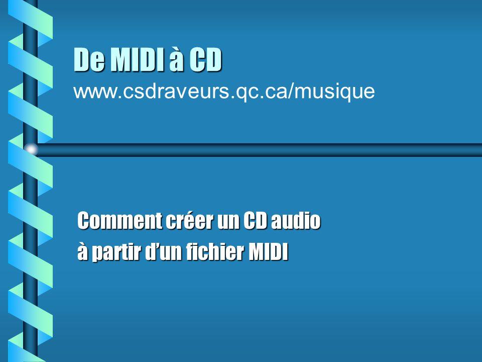 Étape 2 Modifier le MIDI b Démarrez votre séquenceur (cakewalk) b Modifiez: le tempole tempo la tonalité (toutes les pistes sauf le 10)la tonalité (toutes les pistes sauf le 10) les instrumentsles instruments b Enregistrez en format MIDI