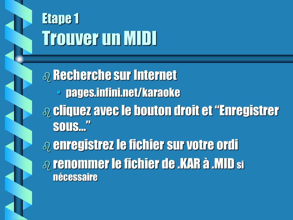 """Etape 1 Trouver un MIDI b Recherche sur Internet pages.infini.net/karaokepages.infini.net/karaoke b cliquez avec le bouton droit et """"Enregistrer sous…"""