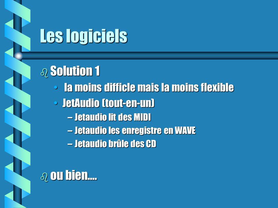 Les logiciels (suite) b Solution 2 la plus compliquée mais la plus flexiblela plus compliquée mais la plus flexible un logiciel différent pour chacune des étapesun logiciel différent pour chacune des étapes