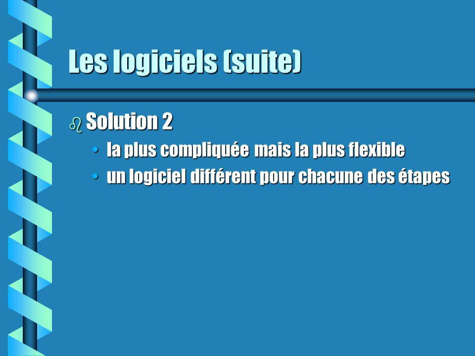 Les logiciels (suite) b Solution 2 la plus compliquée mais la plus flexiblela plus compliquée mais la plus flexible un logiciel différent pour chacune