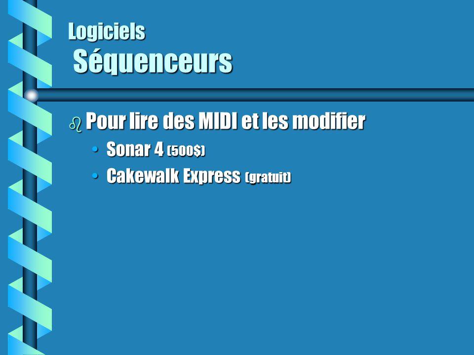 Logiciels Séquenceurs b Pour lire des MIDI et les modifier Sonar 4 (500$)Sonar 4 (500$) Cakewalk Express (gratuit)Cakewalk Express (gratuit)
