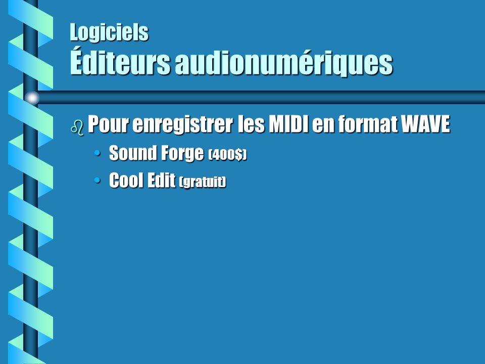 Logiciels Éditeurs audionumériques b Pour enregistrer les MIDI en format WAVE Sound Forge (400$)Sound Forge (400$) Cool Edit (gratuit)Cool Edit (gratu