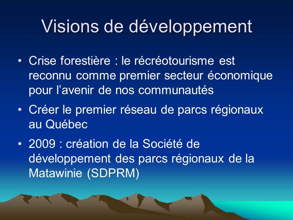 Visions de développement Crise forestière : le récréotourisme est reconnu comme premier secteur économique pour l'avenir de nos communautés Créer le premier réseau de parcs régionaux au Québec 2009 : création de la Société de développement des parcs régionaux de la Matawinie (SDPRM)