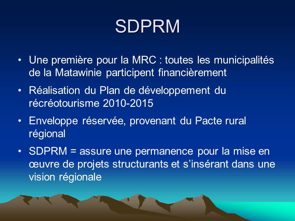 SDPRM Une première pour la MRC : toutes les municipalités de la Matawinie participent financièrement Réalisation du Plan de développement du récréotourisme 2010-2015 Enveloppe réservée, provenant du Pacte rural régional SDPRM = assure une permanence pour la mise en œuvre de projets structurants et s'insérant dans une vision régionale