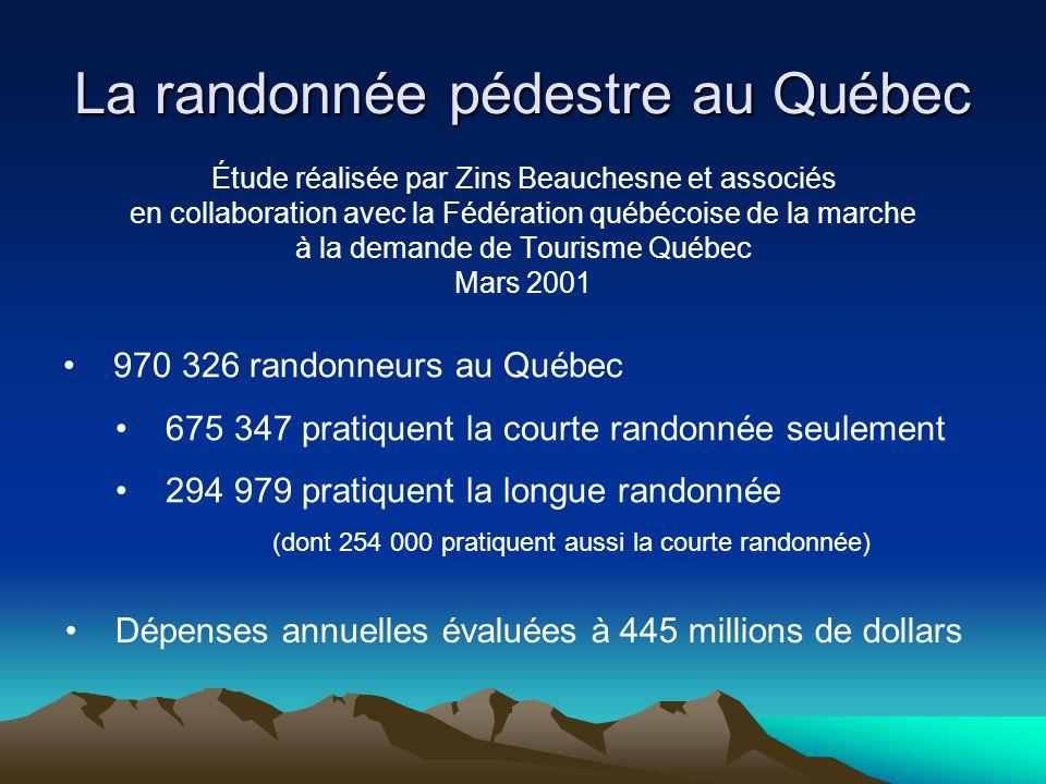 La randonnée pédestre au Québec Étude réalisée par Zins Beauchesne et associés en collaboration avec la Fédération québécoise de la marche à la demand