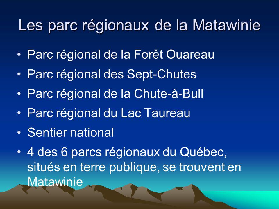Les parc régionaux de la Matawinie Parc régional de la Forêt Ouareau Parc régional des Sept-Chutes Parc régional de la Chute-à-Bull Parc régional du L
