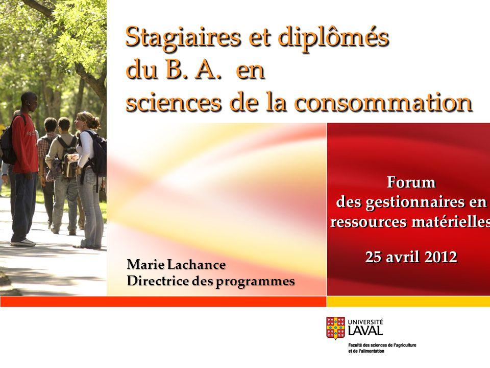 Stagiaires et diplômés du B. A. en sciences de la consommation Stagiaires et diplômés du B.