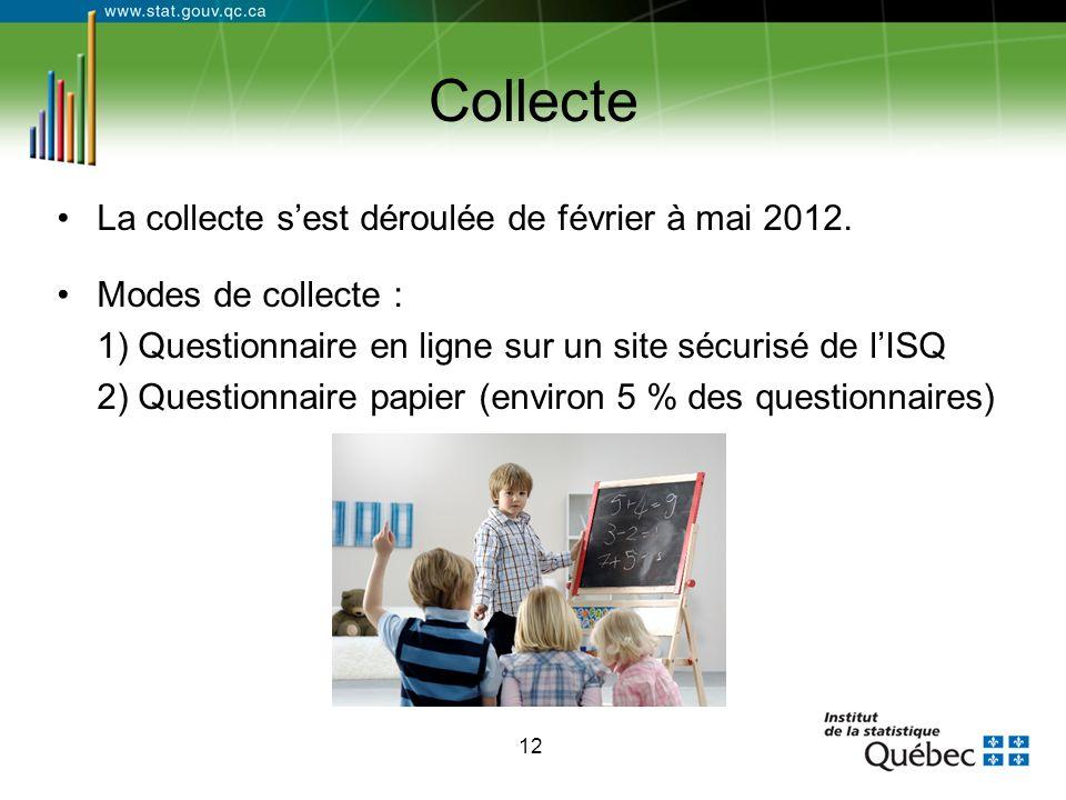 12 Collecte La collecte s'est déroulée de février à mai 2012. Modes de collecte : 1) Questionnaire en ligne sur un site sécurisé de l'ISQ 2) Questionn