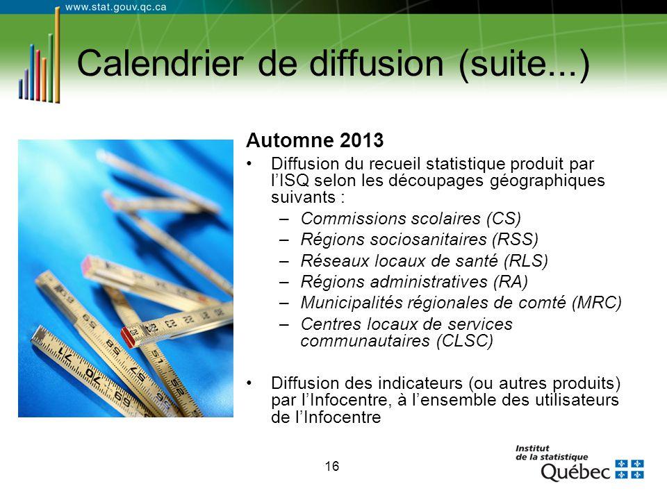 16 Calendrier de diffusion (suite...) Automne 2013 Diffusion du recueil statistique produit par l'ISQ selon les découpages géographiques suivants : –C