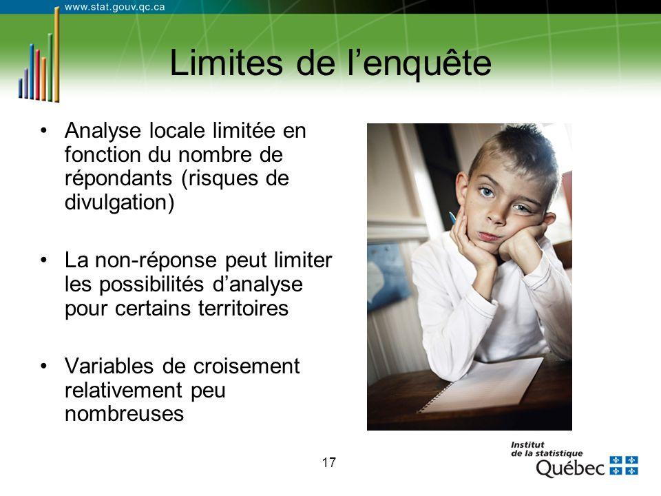 17 Limites de l'enquête Analyse locale limitée en fonction du nombre de répondants (risques de divulgation) La non-réponse peut limiter les possibilit
