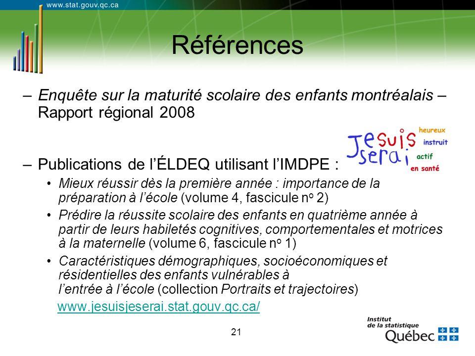 21 Références –Enquête sur la maturité scolaire des enfants montréalais – Rapport régional 2008 –Publications de l'ÉLDEQ utilisant l'IMDPE : Mieux réu