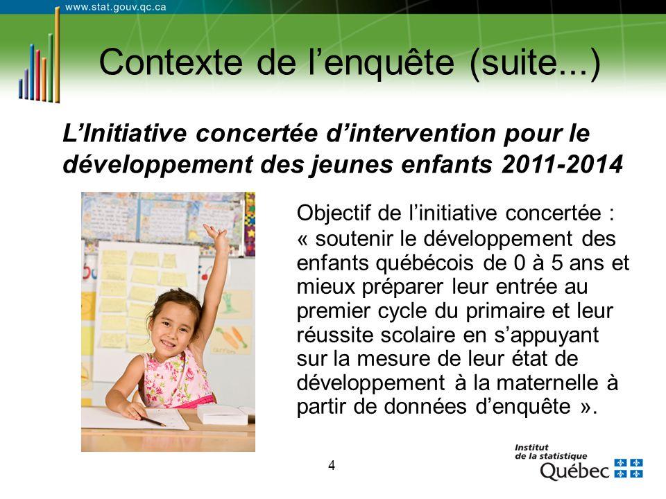 4 Contexte de l'enquête (suite...) Objectif de l'initiative concertée : « soutenir le développement des enfants québécois de 0 à 5 ans et mieux prépar