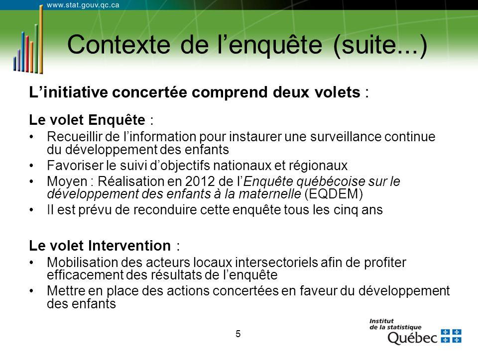 5 Contexte de l'enquête (suite...) L'initiative concertée comprend deux volets : Le volet Enquête : Recueillir de l'information pour instaurer une sur
