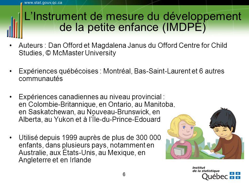 6 L'Instrument de mesure du développement de la petite enfance (IMDPE) Auteurs : Dan Offord et Magdalena Janus du Offord Centre for Child Studies, © M