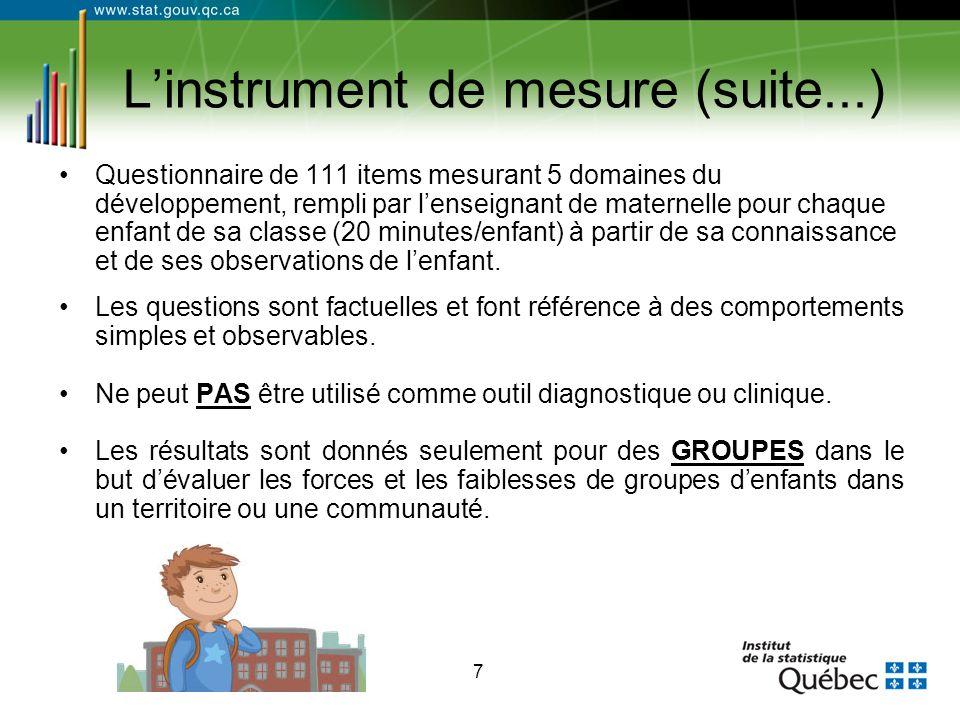 7 L'instrument de mesure (suite...) Questionnaire de 111 items mesurant 5 domaines du développement, rempli par l'enseignant de maternelle pour chaque