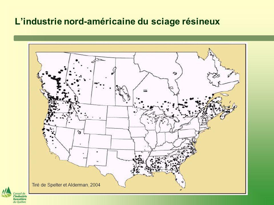 Producteurs Nord-américains de plus de 1 milliard de pmp CanadaEtats-UnisTotal Proportion de la production Nord- américaine CompagnieNb usinesproductionNb usinesproductionNb usinesproduction% Millions pmp Weyerhaeuser412042342862754908,55% West Fraser1135301515162650467,85% Canfor15411253892045017,01% AbitibiBowater252375 2523753,70% Tolko101950 1019503,04% Sierra-Pacific Ind.