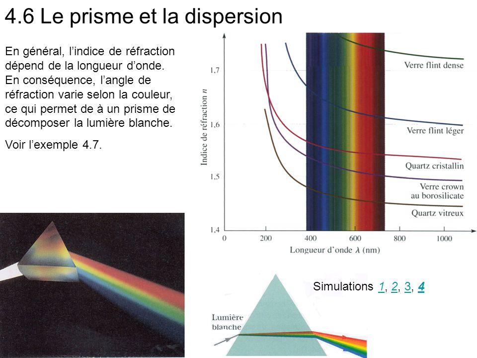 4.6 Le prisme et la dispersion En général, l'indice de réfraction dépend de la longueur d'onde. En conséquence, l'angle de réfraction varie selon la c