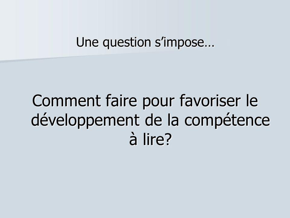 Une question s'impose… Comment faire pour favoriser le développement de la compétence à lire?