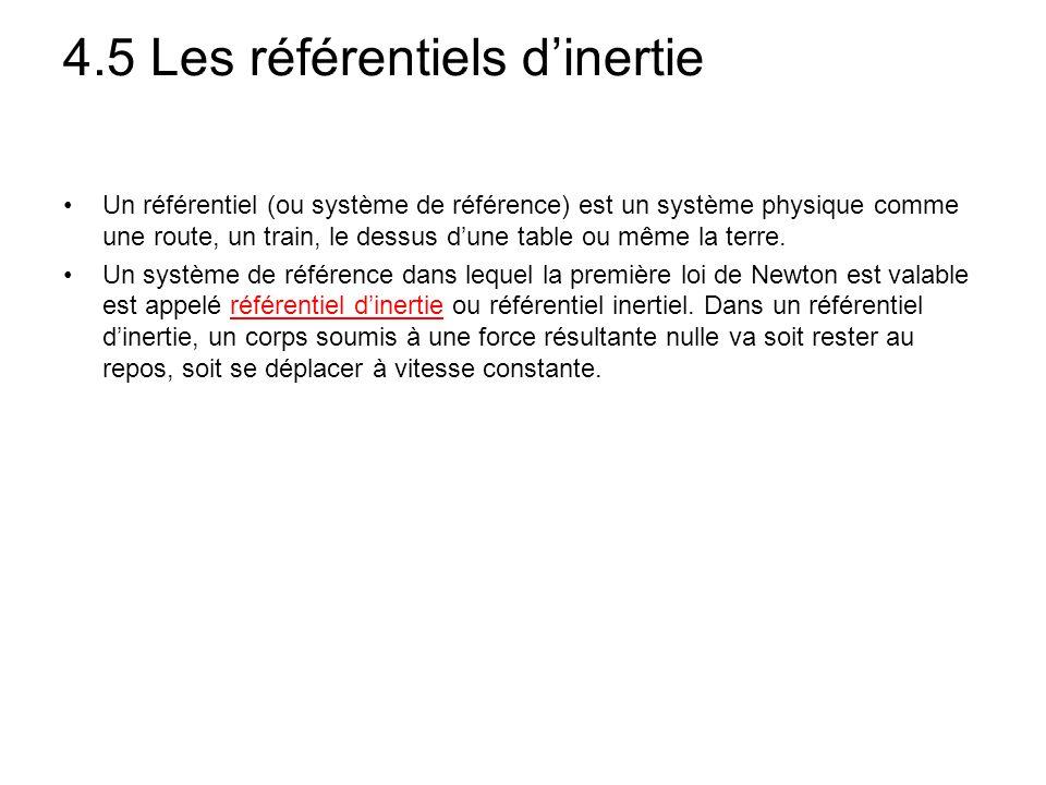 4.5 Les référentiels d'inertie Un référentiel (ou système de référence) est un système physique comme une route, un train, le dessus d'une table ou mê