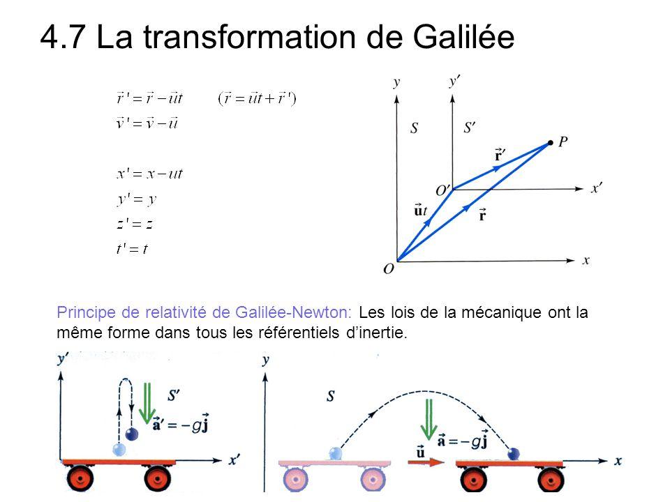 4.7 La transformation de Galilée Principe de relativité de Galilée-Newton: Les lois de la mécanique ont la même forme dans tous les référentiels d'ine
