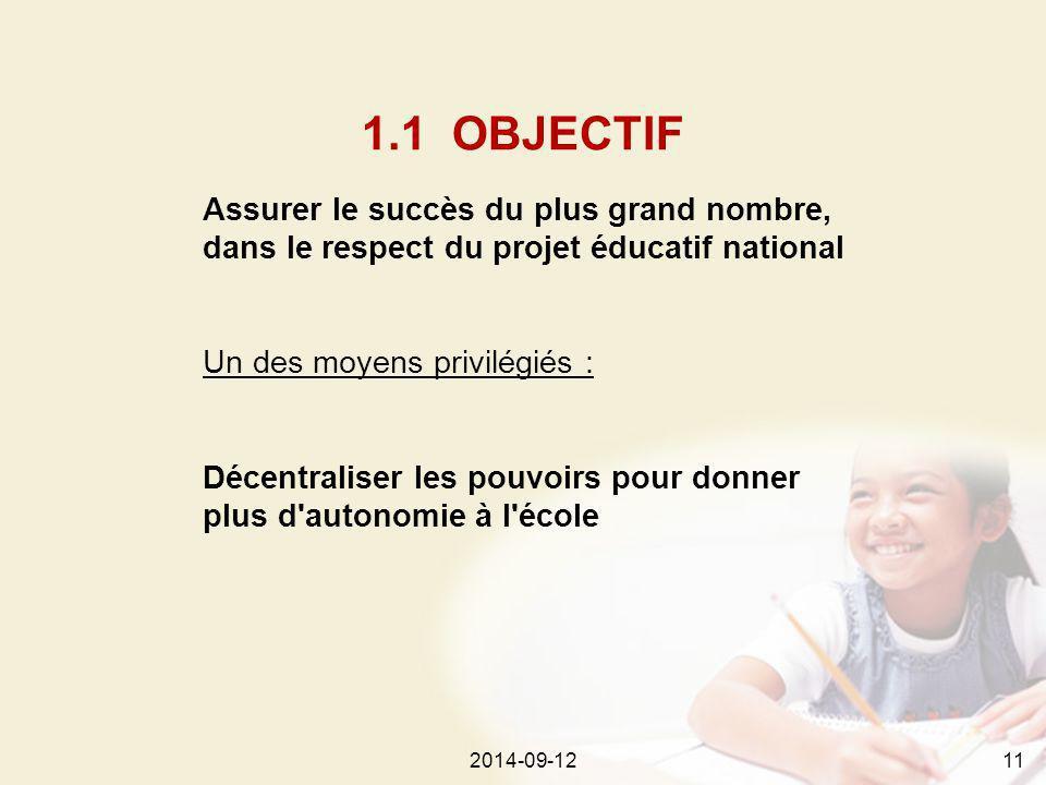 2014-09-12112014-09-1211 Assurer le succès du plus grand nombre, dans le respect du projet éducatif national Un des moyens privilégiés : Décentraliser les pouvoirs pour donner plus d autonomie à l école 1.1 OBJECTIF