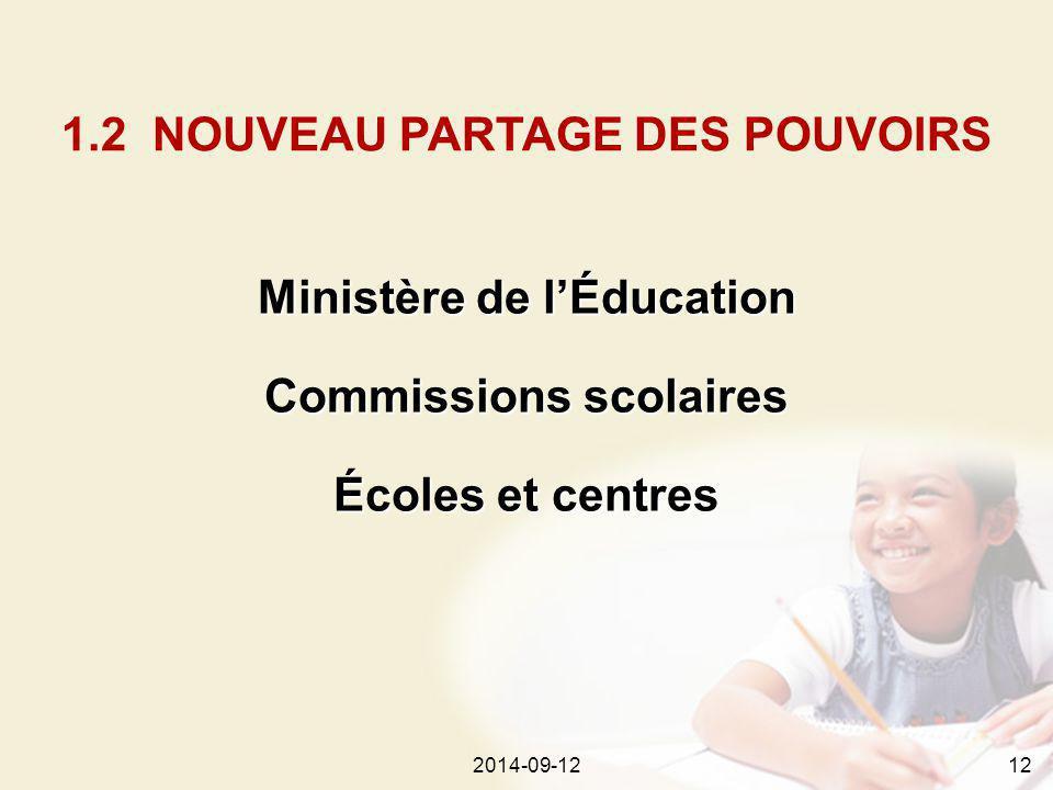 2014-09-12122014-09-1212 Ministère de l'Éducation Commissions scolaires Écoles et centres 1.2 NOUVEAU PARTAGE DES POUVOIRS