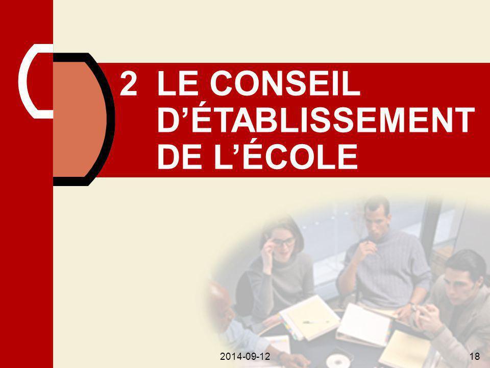 2014-09-1218 2LE CONSEIL D'ÉTABLISSEMENT DE L'ÉCOLE 2014-09-1218