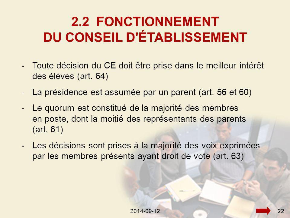 2014-09-12222014-09-1222 -Toute décision du CE doit être prise dans le meilleur intérêt des élèves (art.