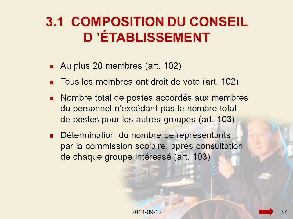 2014-09-12372014-09-1237 Au plus 20 membres (art. 102) Tous les membres ont droit de vote (art.