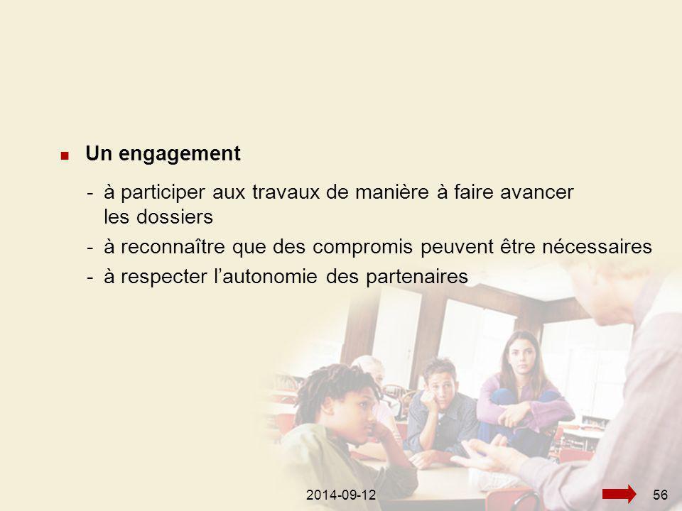 2014-09-12562014-09-1256 Un engagement -à participer aux travaux de manière à faire avancer les dossiers -à reconnaître que des compromis peuvent être nécessaires -à respecter l'autonomie des partenaires