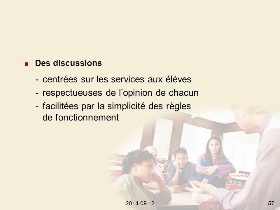 2014-09-12572014-09-1257 Des discussions -centrées sur les services aux élèves -respectueuses de l'opinion de chacun -facilitées par la simplicité des règles de fonctionnement