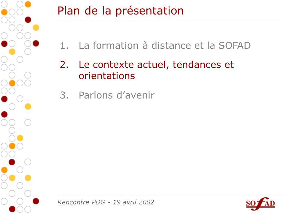 Plan de la présentation La formation à distance et la SOFAD1.