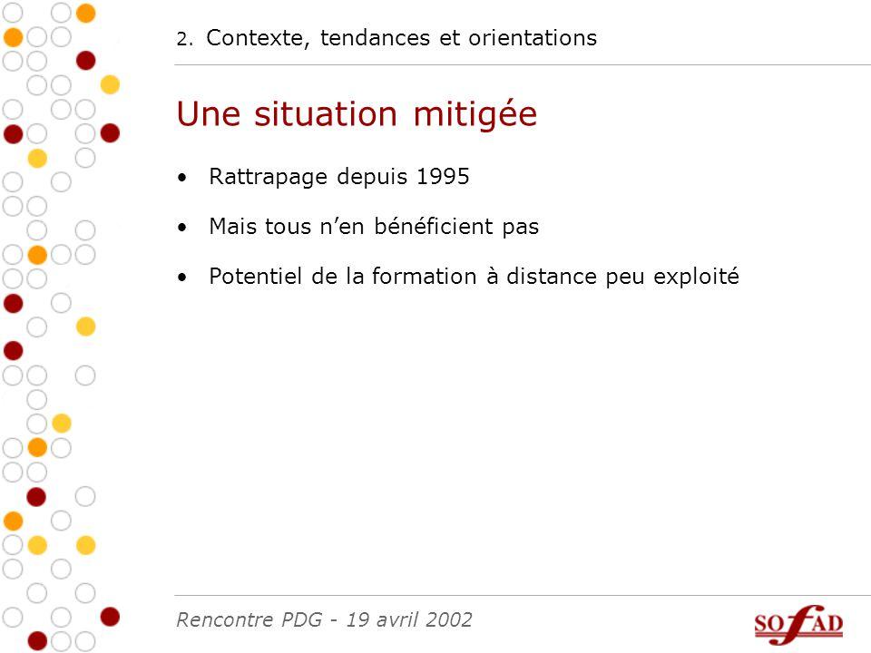 2. Contexte, tendances et orientations Une situation mitigée Rattrapage depuis 1995 Mais tous n'en bénéficient pas Potentiel de la formation à distanc