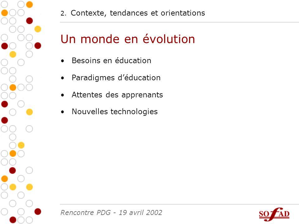 2. Contexte, tendances et orientations Un monde en évolution Besoins en éducation Paradigmes d'éducation Attentes des apprenants Nouvelles technologie