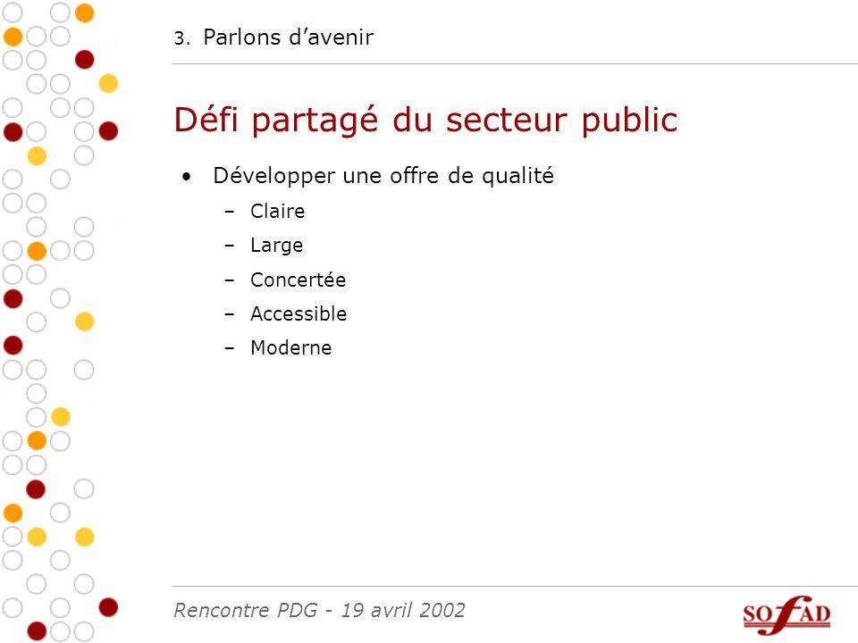 Développer une offre de qualité –Claire –Large –Concertée –Accessible –Moderne 3.